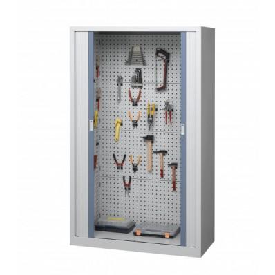 Armoire d'atelier à rideaux équipée
