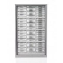 Armoire haute à rideaux H198 cm cm équipée de 112 tiroirs