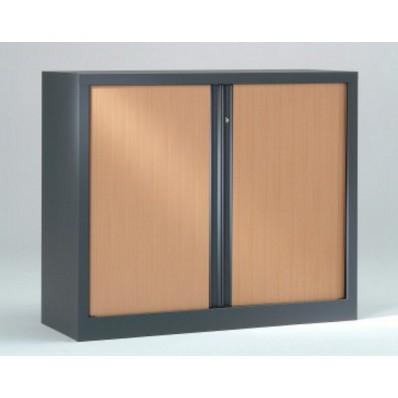 Armoire basse à rideaux PP 43x120x100 cm - Rideaux décor bois