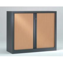 Armoire basse à rideaux PP 43x100x100 cm. - Rideaux décor bois