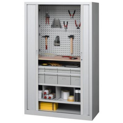 Armoire d'atelier à rideaux équipée d'accessoires pour outils