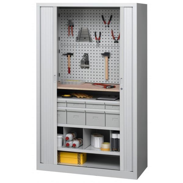 Armoire d 39 atelier rideaux quip e d 39 accessoires pour outils - Outil pour deplacer meuble ...
