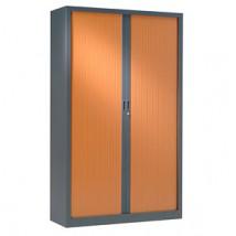 Armoire haute à rideaux 43x120x198 cm - Rideaux décor bois