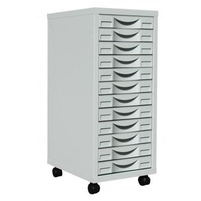 Desserte mobile en métal 12 tiroirs gris clair